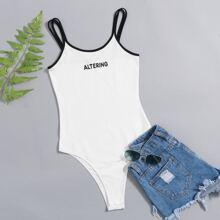Double Strap Letter Graphic Bodysuit