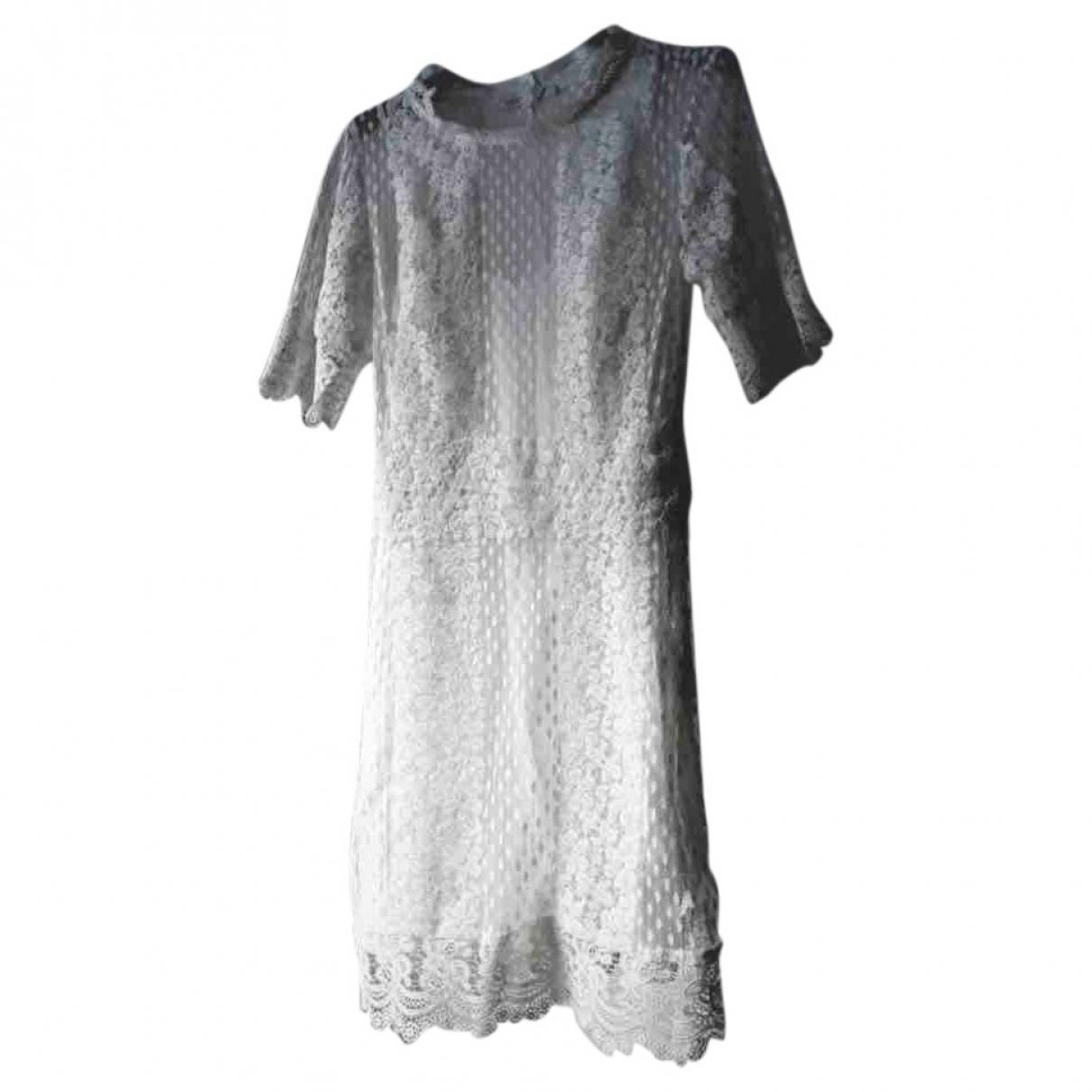 Maje Spring Summer 2019 Kleid in  Weiss Baumwolle