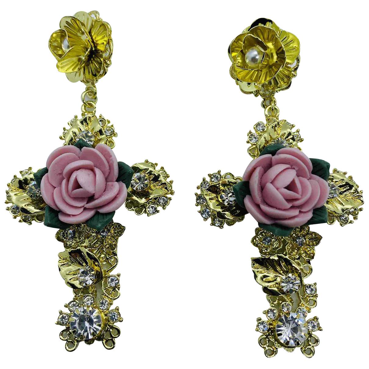- Boucles doreilles Croix pour femme en metal - multicolore