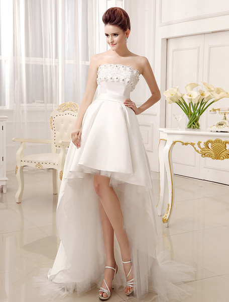 Milanoo Strapless A-line Strapless Ivory Wedding Dress For Bride
