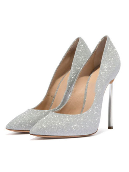 Milanoo Silver Prom Heels Sparkly Ultra High Heel Sexy Pumps Pointed Toe Wedding Shoes