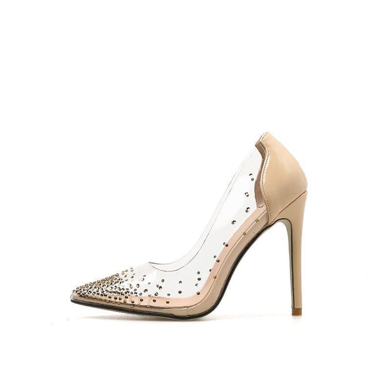 Ericdress PVC Rhinestone Pointed Toe Stiletto Heel Women's Pumps