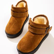 Toddler Boys Buckle Decor Fur Lined Ankle Boots