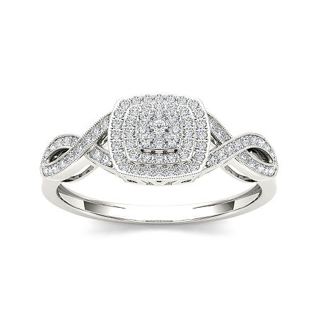 1/4 CT. T.W. Diamond 10K White Gold Engagement Ring, 8 , No Color Family
