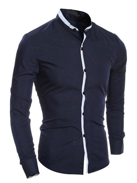 Milanoo Men's Grey Shirt Long Sleeve Stand Collar Slim Fit Cotton Casual Shirt