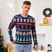 Gerippter Pullover mit Weihnachten Muster und Strick Saum