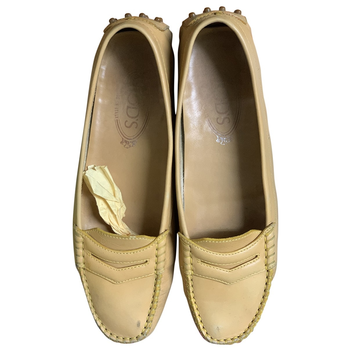Tod's Gommino Beige Leather Flats for Women 39 EU