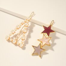 2pcs Toddler Girls Star Decor Hair Clip