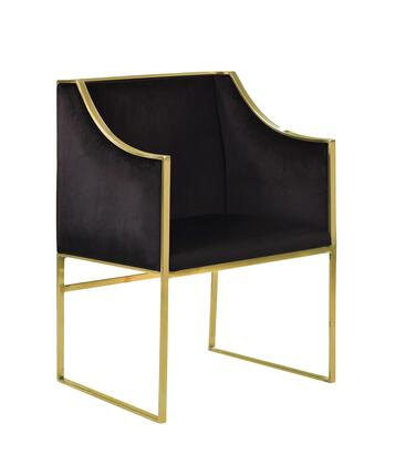 Franco Collection FAC2728-AC Accent Club Chair with High Polished Brass Stainless Steel Frame  Sloped Armrest  Contemporary Style  Plush Multi