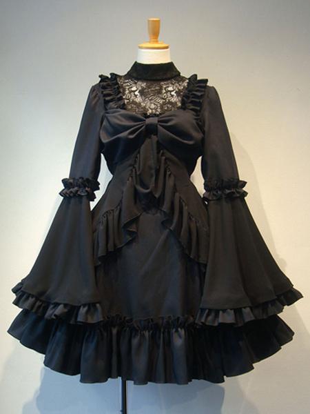 Milanoo Gothic Lolita OP Dress White Ruffles Lolita One Piece Dresses