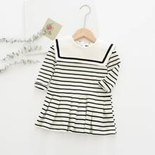 Toddler Girls Sailor Collar Stripe Pleated Hem Dress