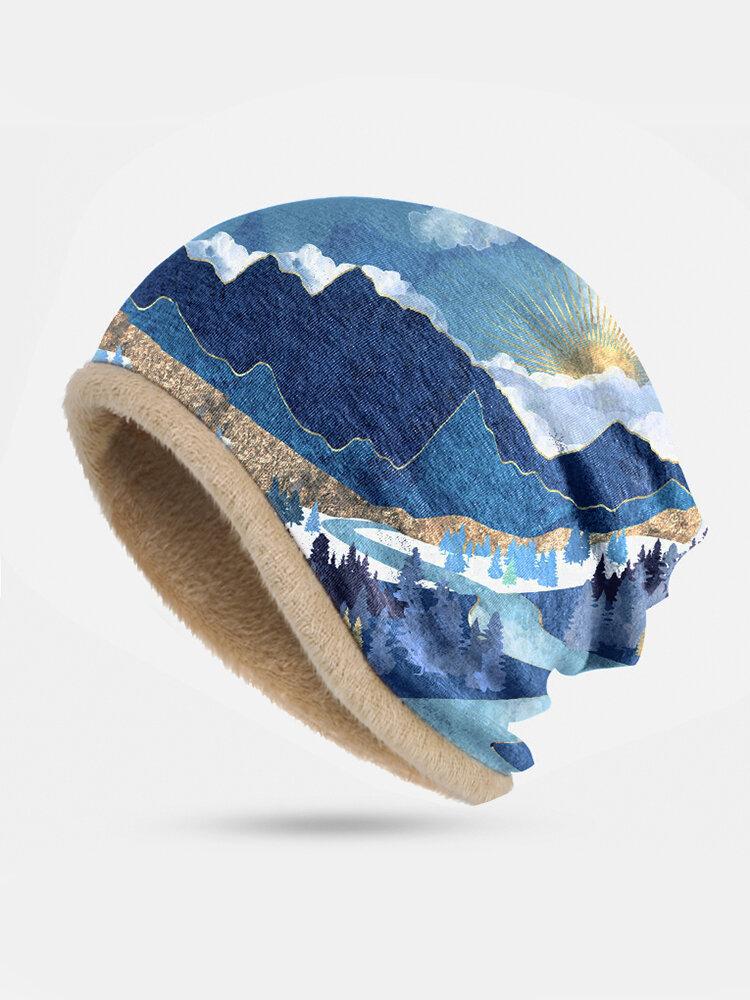 Women Mountain Treetop Print Pattern Soft Personality Breathable Turban Cap Beanie Hat