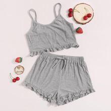 Cami Top mit Raffungsaum & Shorts mit Schlafanzug Set