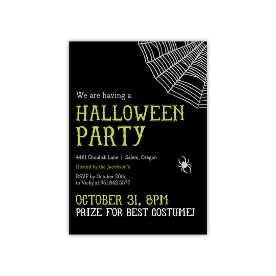 20 Pack of Gartner Studios® Personalized Wicked Web Foil Halloween Invitation in Lime | 5