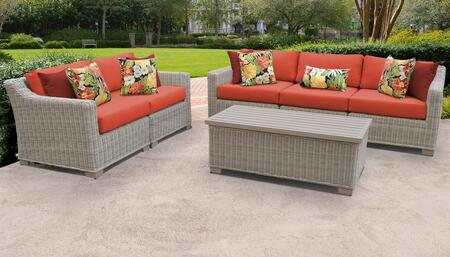 Coast Collection COAST-06p-TANGERINE 6-Piece Patio Set 06p with 1 Armless Chair   1 Storage Coffee Table   2 Left Arm Chair   2 Right Arm Chair -