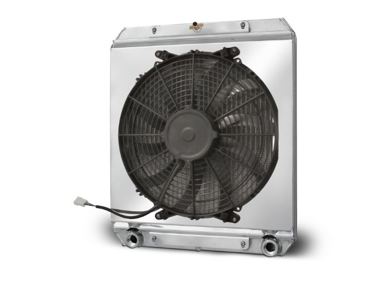 AFCO 80108N Aluminum Radiator with Fan Shroud Dragster/Roadster Double Pass 3/4 FNPT Inlet 3/4 FNPT Outlet
