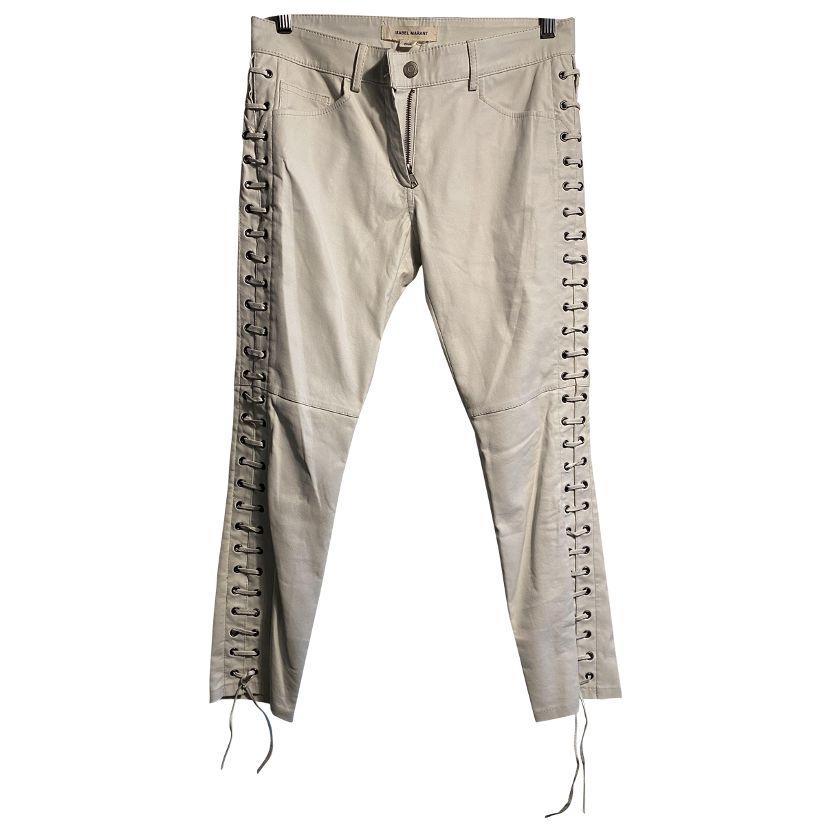Isabel Marant Pour H&m \N White Leather Trousers for Women 36 FR
