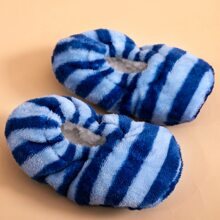 Boys Striped Graphic Fluffy Slippers