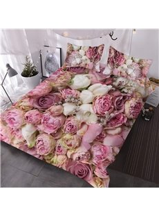 3D Romantic Bouquets of Pink Roses 3-Piece Soft Warm Lightweight Microfiber Floral Comforter Sets for All Seasons