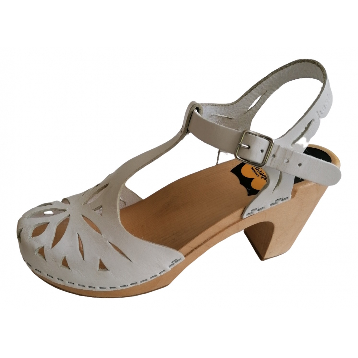Swedish Hasbeens \N Clogs in  Weiss Leder