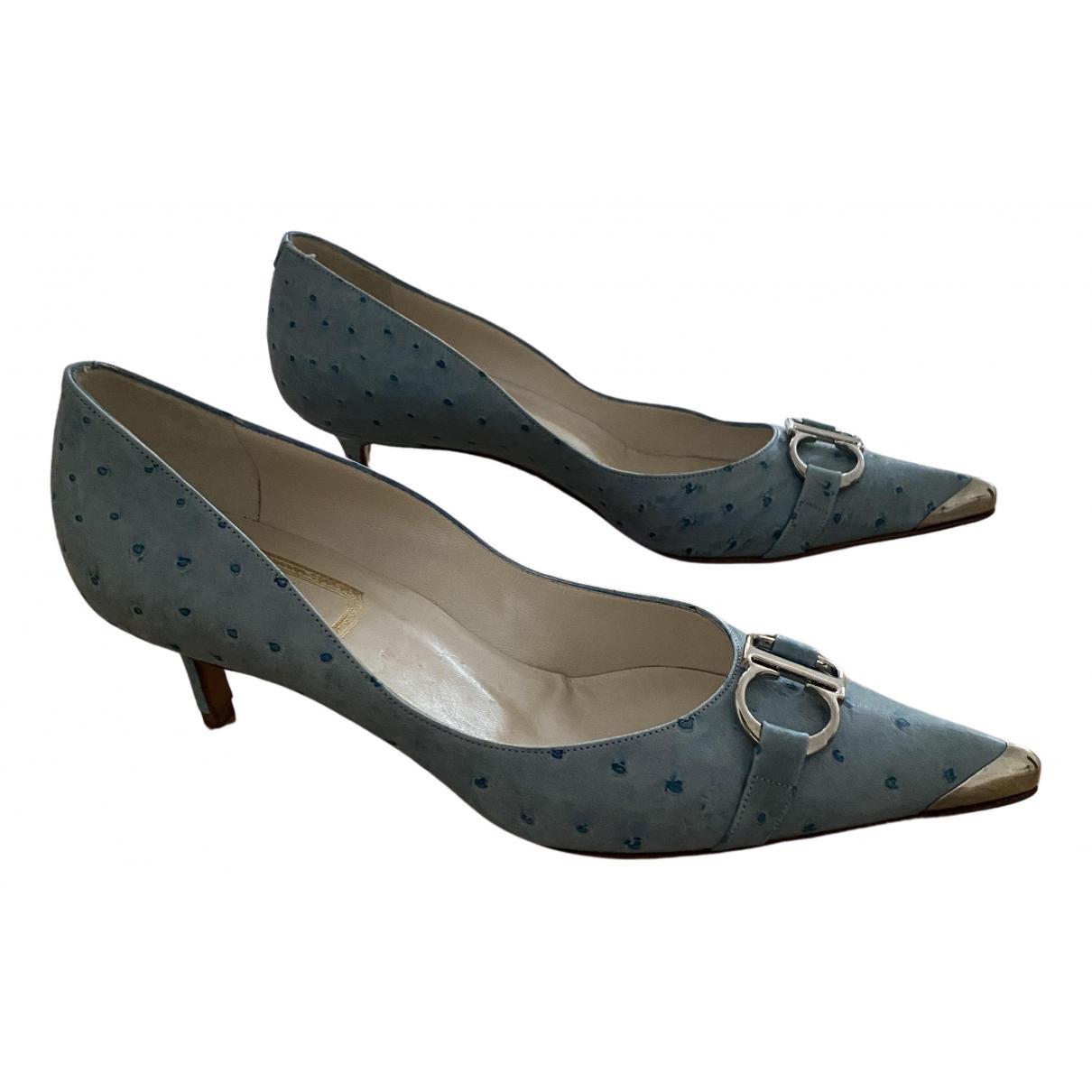Dior - Escarpins   pour femme en autruche - bleu