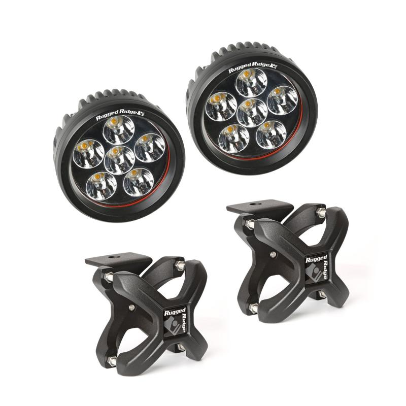 Rugged Ridge 15210.94 Light Kit, X-Clamp/Round LED, Large, Textured Black, 2 Pieces