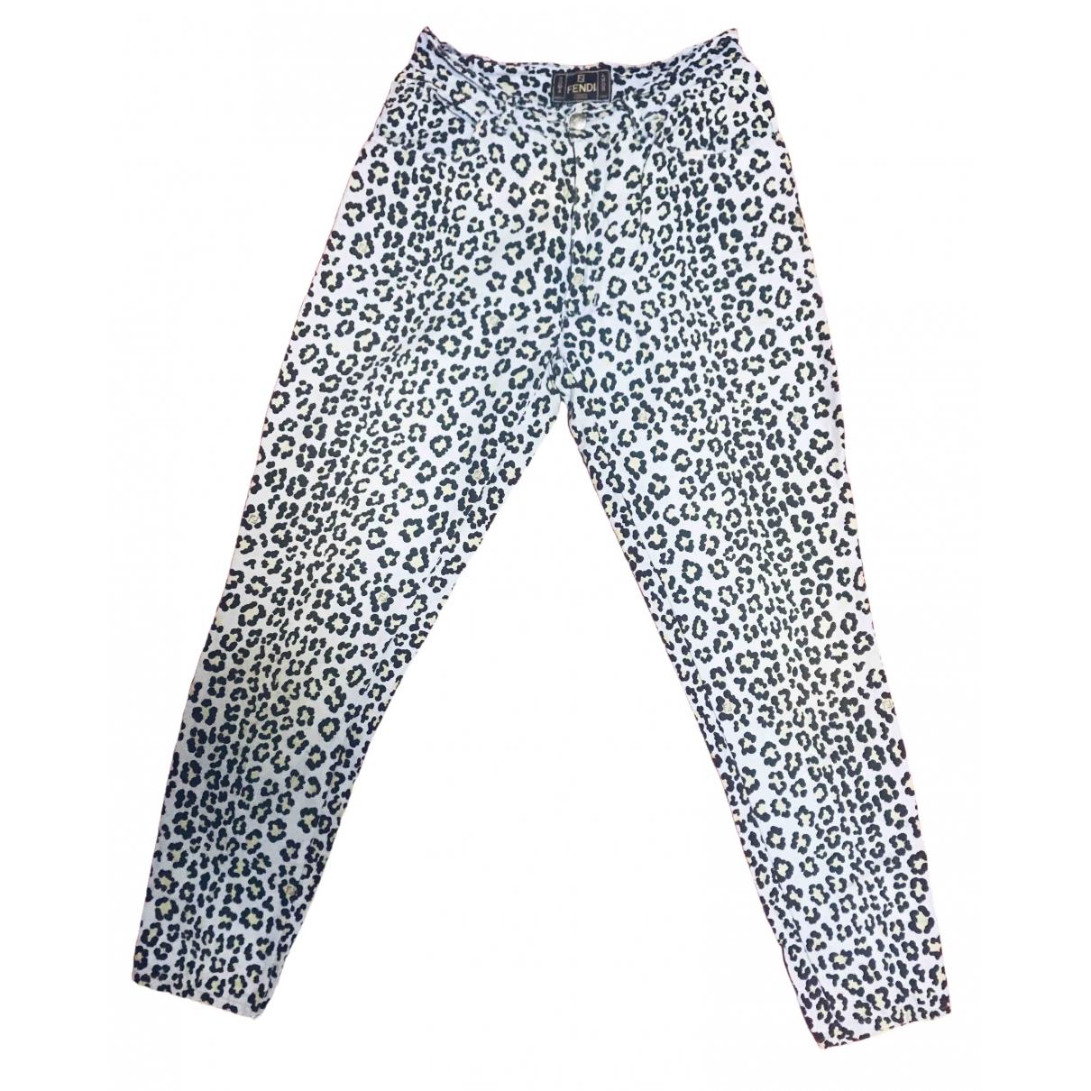 Fendi \N Multicolour Linen Trousers for Women 44 IT