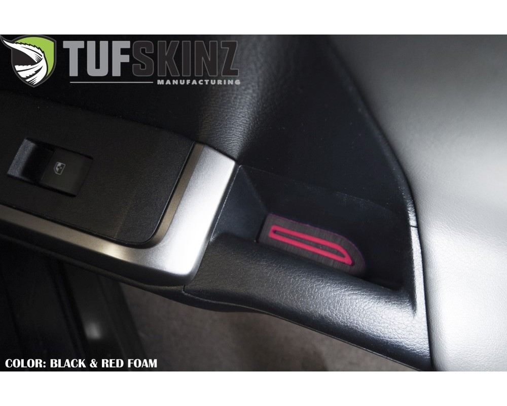 Tufskinz TAC058-FRD-X Access Cab Door Armrest Inserts- Fits 2016-2020 Toyota Tacoma 2 Piece Kit In Black/Red