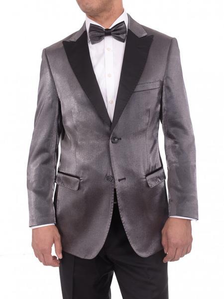 Men's Gray Satin Peak Lapel Blue 2 Button Slim Fit Blazer Sportcoat
