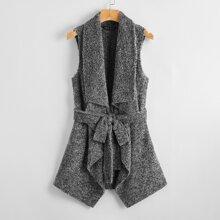 Plus Waterfall Collar Self Belted Teddy Coat