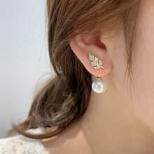 Rhinestone Leaf Decor Faux  Pearl Drop Earrings