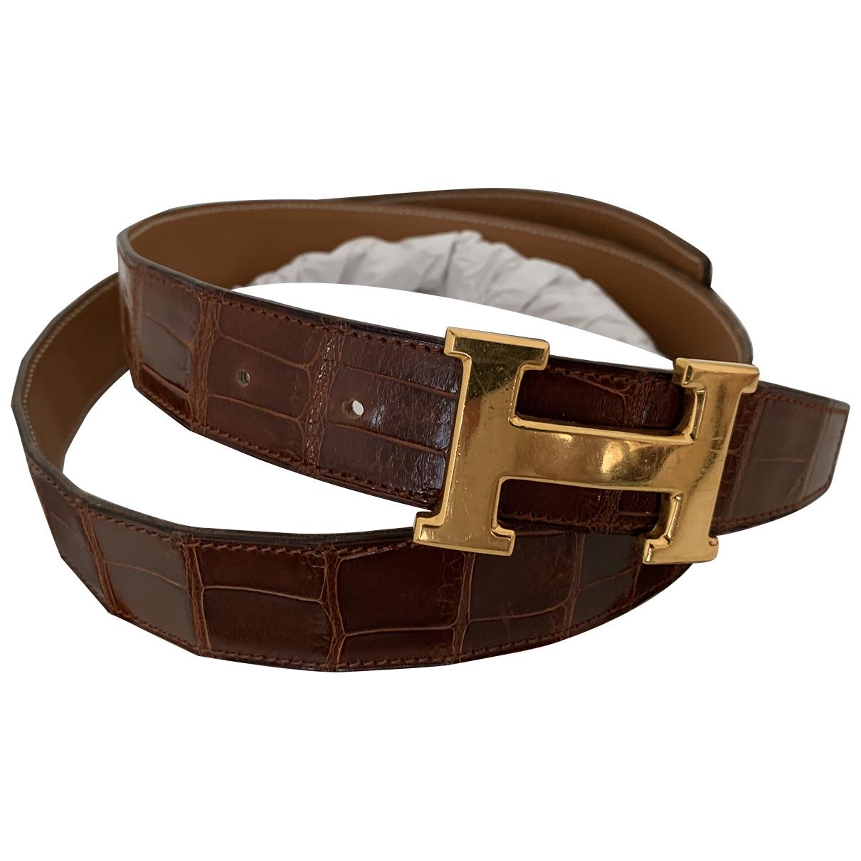 Hermès H Brown Alligator belt for Men 90 cm
