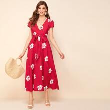 Kleid mit V Kragen, Guertel und Blumen Muster