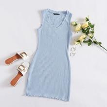 Vestido tejido de canale ribete en forma de lechuga escote V