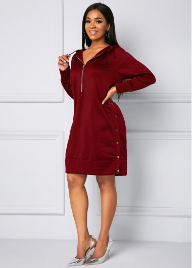 Red Dresses Quarter Zip Hooded Collar Long Sleeve Dress - S