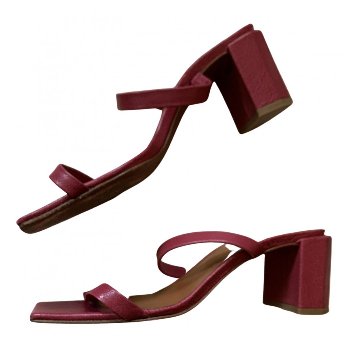 By Far - Sandales   pour femme en cuir - rouge