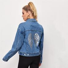 Wing Print Back Denim Trucker Jacket