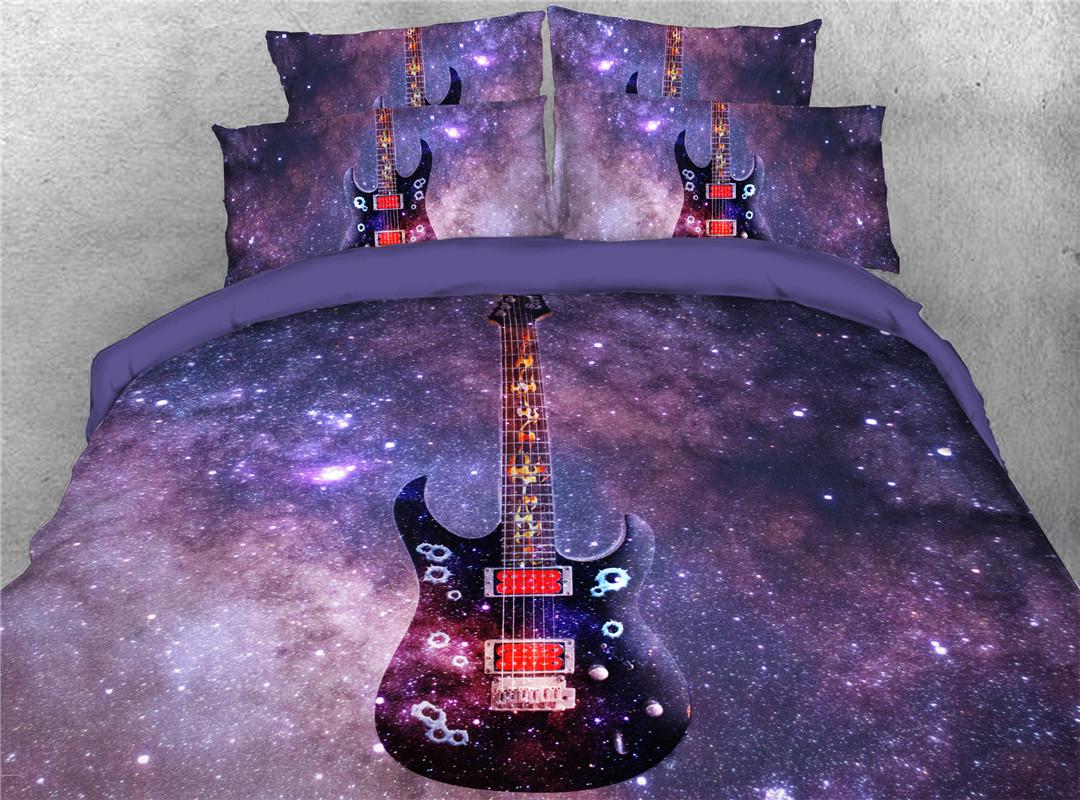 Guitar Five-Piece Set Hand Wash Comforter Set Polyester Bedding Sets