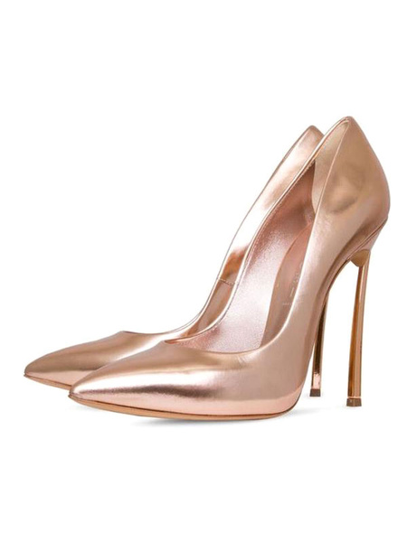 Milanoo Champagne Glitter Evening Shoes Pointed Toe High Heels Stiletto Pump Shoes For Women