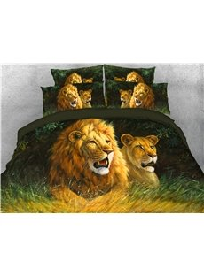 Leopard and Lion Watching Somewhere Digital Printed 4-Piece 3D Bedding Sets/Duvet Covers