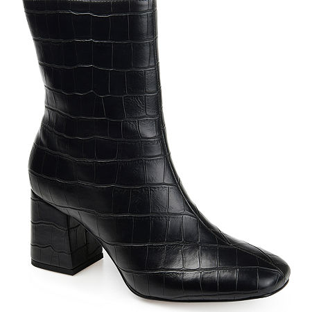 Journee Collection Womens Trevi Booties Block Heel, 6 Medium, Black