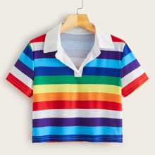 Rainbow Striped Collared Cropped Tee