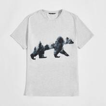 Men Bear Print Tee