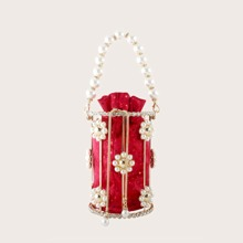 Faux Pearl Decor Bucket Bag With Inner Pouch