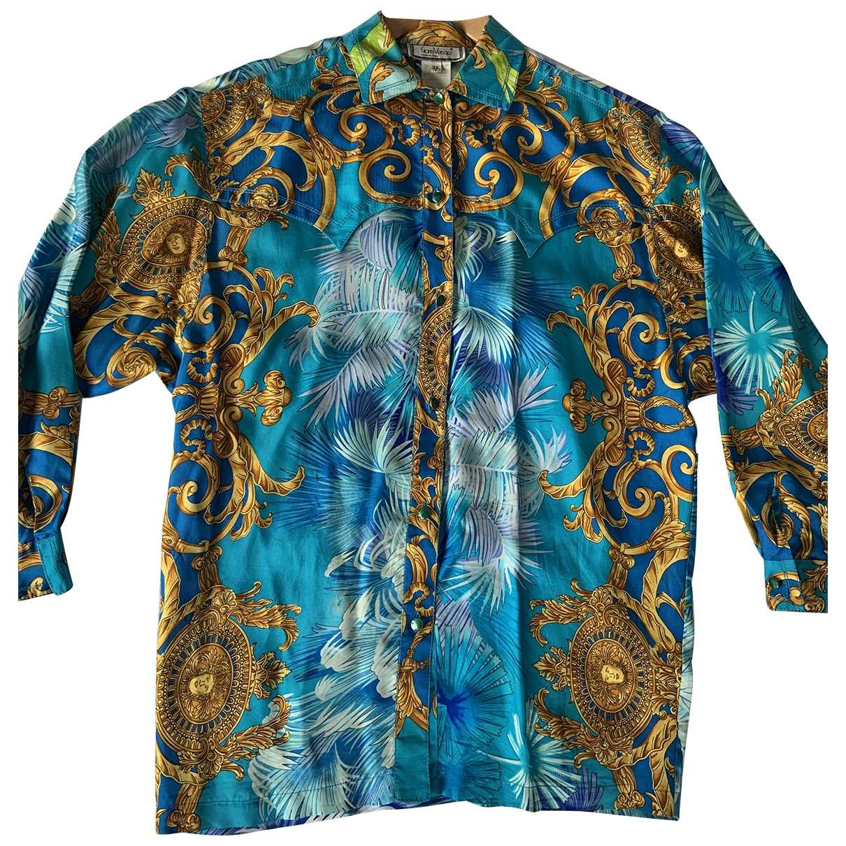 Gianni Versace - Top   pour femme en soie - bleu