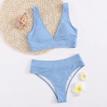 Plus Plain Rib High Waisted Bikini Swimsuit