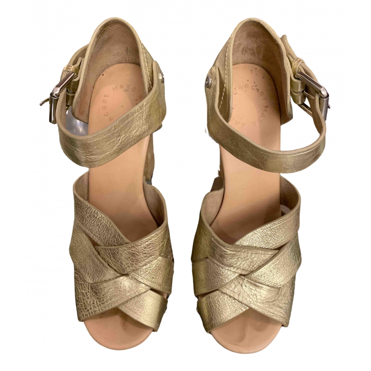 Marc Jacobs \N Gold Leather Mules & Clogs for Women 38 EU