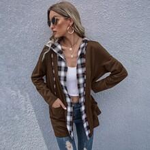 Mantel mit Plaid Muster, zwei Taschen und offener Vorderseite