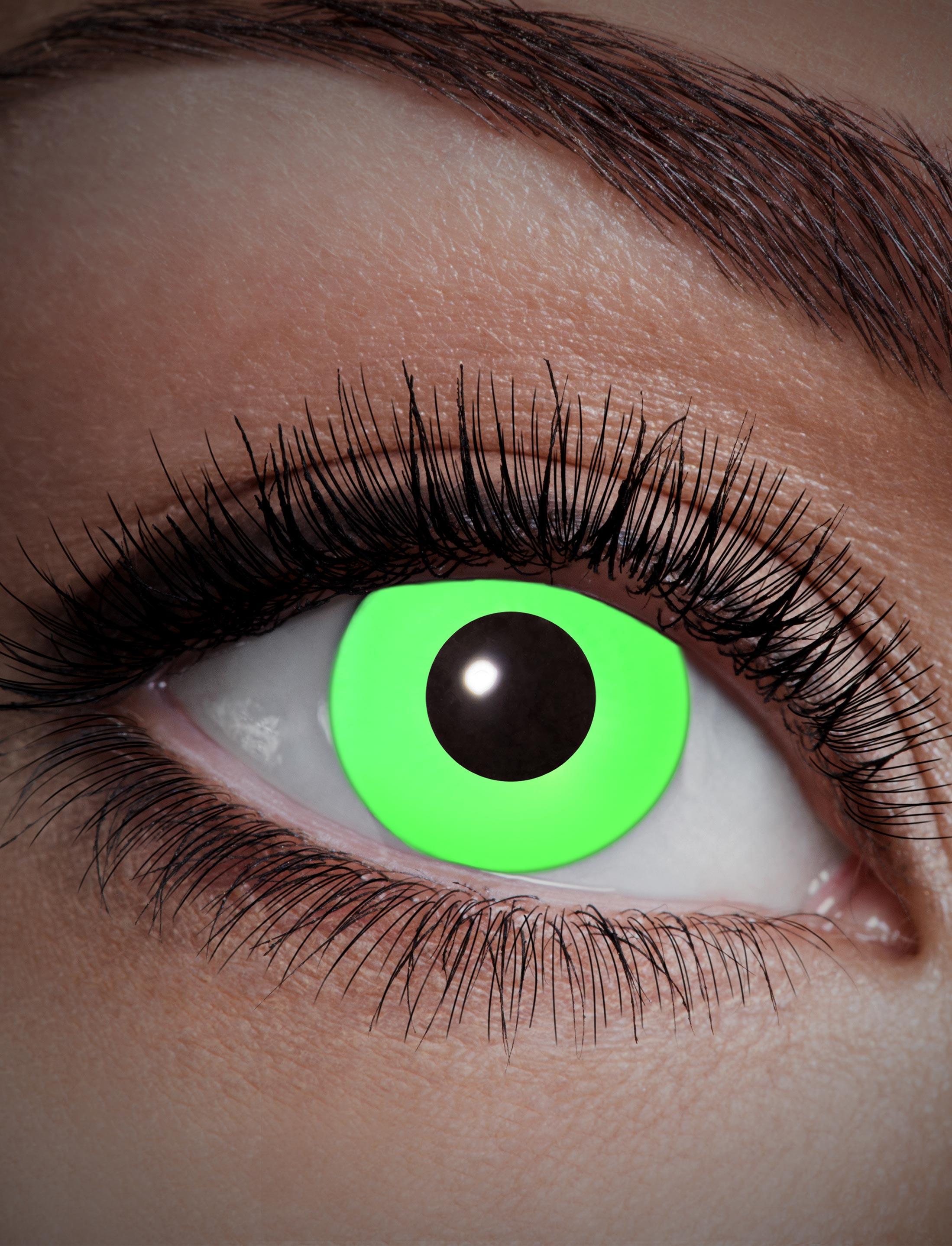 Kostuemzubehor Kontaktlinsen UV Flash Green Farbe: gruen