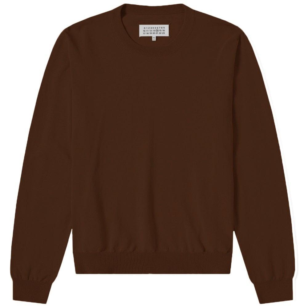 Maison Margiela Elbow Patch Pullover Jumper Colour: DARK BROWN, Size: MEDIUM